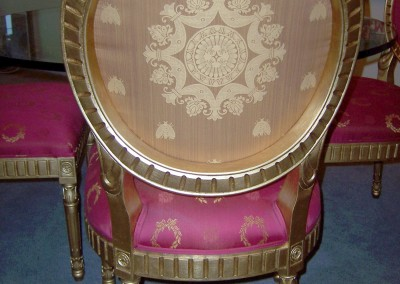 Custom fabric upholstered chairs, Napoleon style