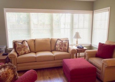 Custom upholstery & Hunter Douglas side-by-side blinds