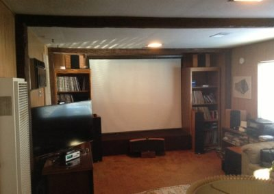 An outdated home theater area